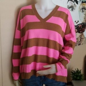 J. Crew Italian Cashmere Pink Stripes Long Sleeves